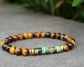 Mens Bracelet SLIM Bracelet African Jasper & Lucky Tigers Eye Bracelet Mens Gift Boyfriend Gift Mens Beaded Bracelet for Him Husband Gift