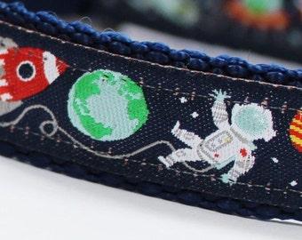 Space Adventures Pet Collar, Rocket Ships, Astronauts, Aliens, Adjustable Dog Collar