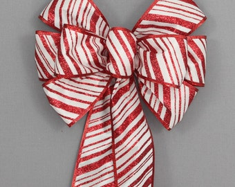 Red Candy Cane Stripe Christmas Bow - Christmas Wreath Bow, Christmas Garland Bow, Christmas Tree Bow