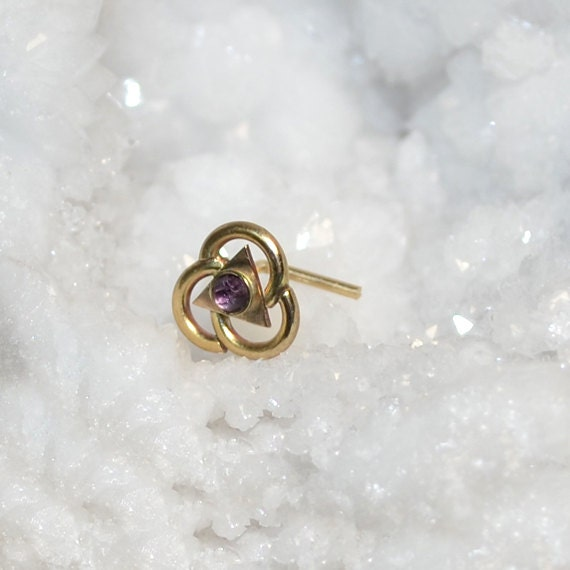 2mm Amethyst Nose Ring Stud - Gold Nose Piercing - Nose Stud - Helix Earring Stud - Tragus Jewelry - Cartilage Hoop - Conch Piercing 18g
