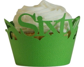 Grass Green Sixty Cupcake Wrappers, Set of 12