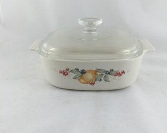 "Vintage Corning Ware Abundance Casserole Dish with Lid 8"", 2 Quart, A-2-B"