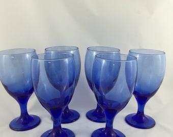 Vintage Cobalt Blue Wine Glasses, Set of 6