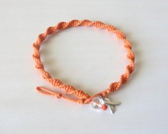 Anklet Orange Awareness Ribbon Charm Leukemia Multiple Sclerosis Kidney Cancer ADHD Rsd CRPS Self Injury Malnutrition Awareness