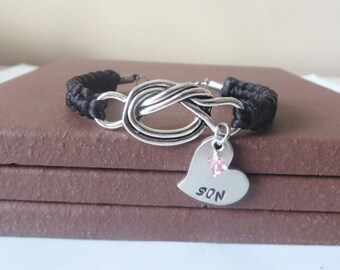 Son Crystal Birthstone Mothers Hand Stamped Love Knot Bracelet You Choose Your Birthstone Charm and Cord Color(s)