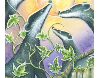 Badger Moon print on A3 of my original gouache painting
