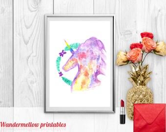 Unicorn print, Unicorn! Printable Art, Life is all rainbows and unicorns , Instant download, Home decor