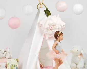 Pom Fringe Teepee - kids teepee, teepee, childrens teepee, teepee tent, nursery decor, girls teepee, toddler gift, pom teepee, tipi, toys