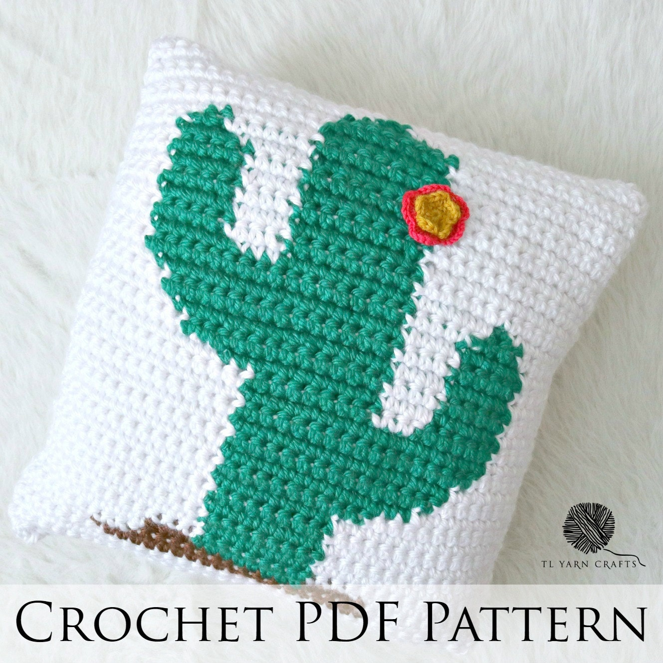 Diy Crochet Throw Pillow : Happy Cactus Pillow Crochet Throw Pillow Pattern Knit