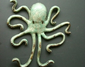 Cast iron Turquois Octopus. Large Wall hanging nautical decor.