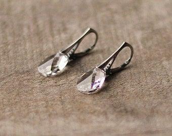 Dangle Swarovski Earrings, Clear Crystal Drop Earrings, Oxidized Silver Earrings Wedding Day Jewelry Bridesmaid Earrings Gift for Girlfriend