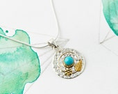 Gemstone Flower Silver Necklace Turquoise Necklace Boho Necklace Coin Necklace Turquoise Round PendantMedallion Necklace Amulet JP136