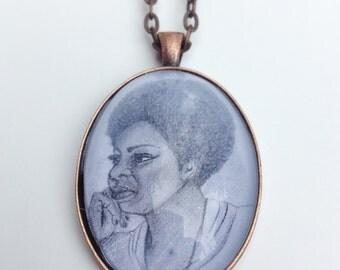 Nina Simone Illustration Pendant Necklace