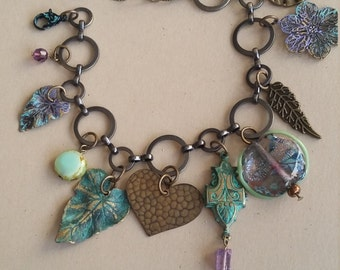 Beautiful, Colorful Verdigris Charm Bracelet with Lampwork bead,