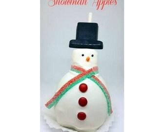 Snowman Caramel Apples. Christmas caramel apples. Disney treats. Winter treats. Mickey party supplies. Kids halloween party. Minnie