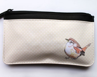 Wren bird zip pouch, makeup bag, pencil case