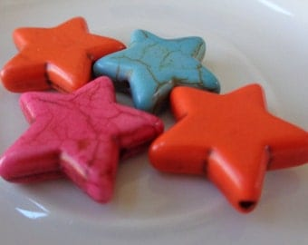 4 Dyed Howlite Flat Star Shaped Beads Pink Orange Turquoise Stone Beads Star Shape Pink Howlite Beads Orange Turquoise Flat Stone Star Beads