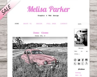 Red premade template wordpress, square blog design, retro style, Melisa Parker