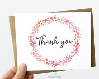 Thank You Card, Wedding Thank you Card, Baby Shower Thank You Card, Purple Watercolor Thank You Card, Blank Thank You Card