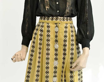 Vintage 40s Yellow and Black Box Pleated Skirt