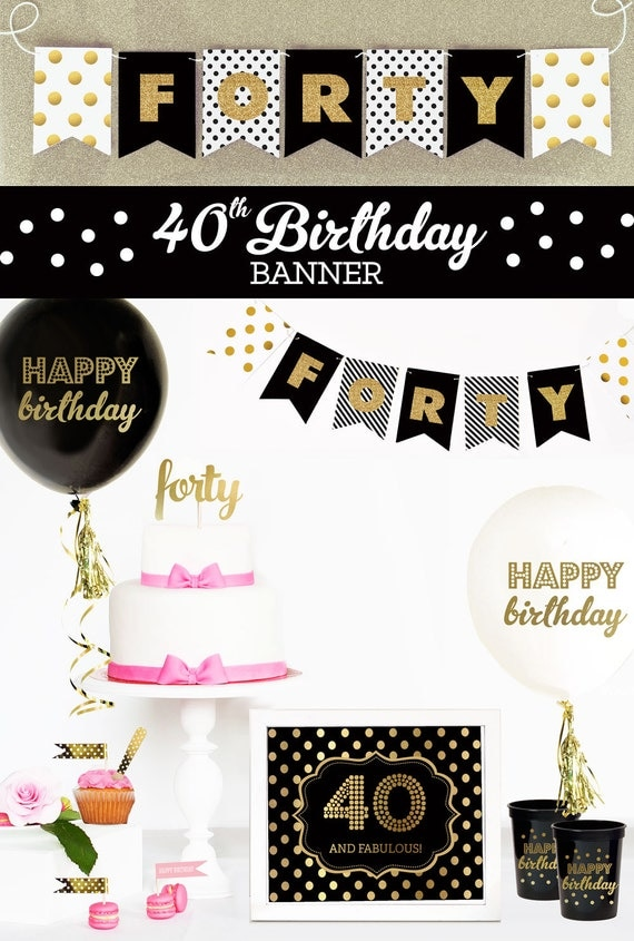 Items similar to 40th birthday banner 40th birthday for 40 birthday decoration ideas