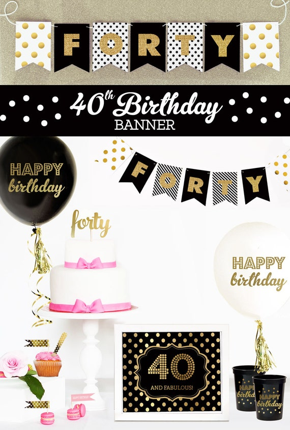 40th birthday banner 40th birthday party decor 40th for 40th birthday decoration