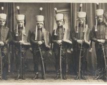 Hussars, cavalry, soldier costumes, sepia postcard, group of men, fancy dress, social history, collage ephemera, journal supply  (rppc/ec15)