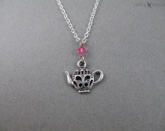 Teapot Charm Necklace - Silver