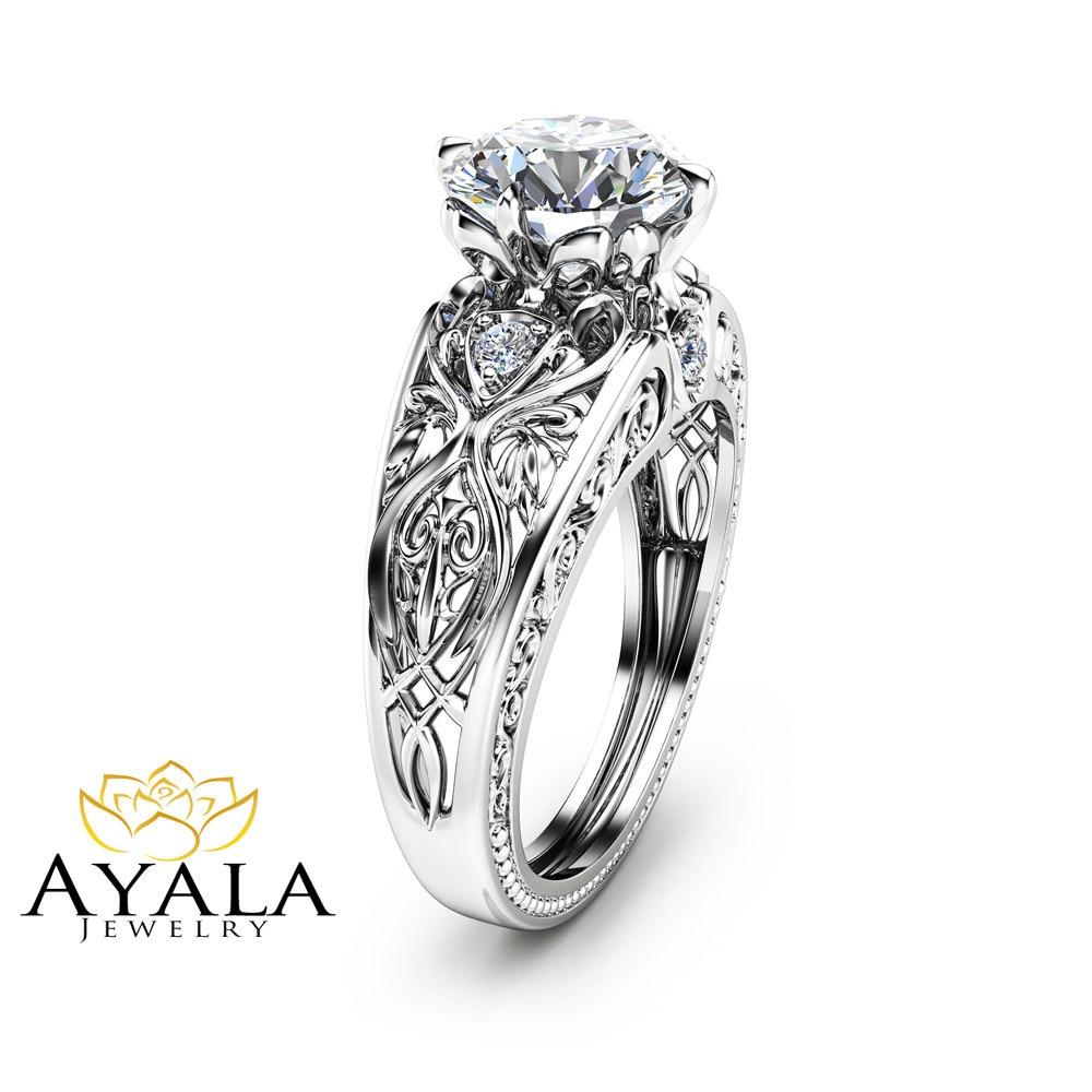 Art Deco Unique Diamond Wedding Ring 14k Two Tone Gold: 14K White Gold Engagement Ring Unique Design 2 Carat