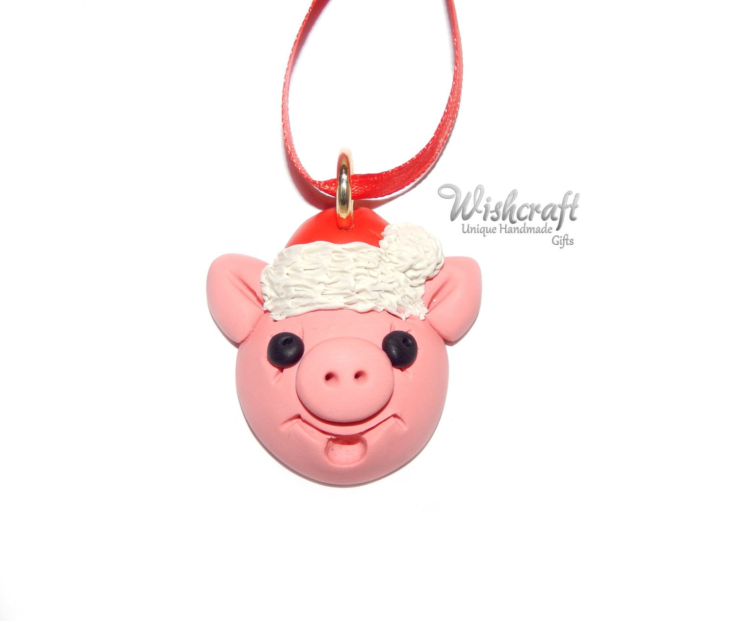 Polymer Clay Christmas Ornament: Pig Christmas Ornament Polymer Clay