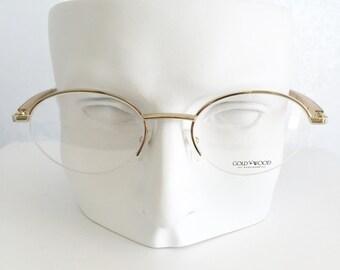Vintage eyewear, Gold & Wood eyeglasses, Round semi rimless reading glasses, Gold metal frame, light brown bamboo temples