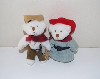 Wild West Wee Bear Bears Cowboy & Cowgirl by Ganz 1996