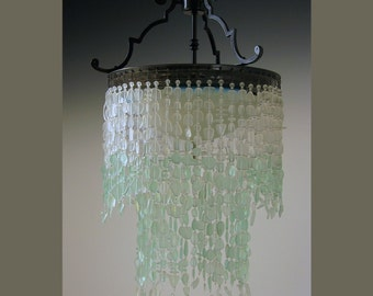 Sea Glass Chandelier Tier WATERFALL  Fixture Coastal Decor * the Depoe Bay* Ombre Beach Glass