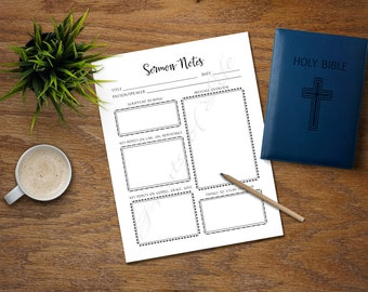 Sermon Notes. PDF printable. Instant download. Worship Notes for adults. Church journal. Bible study planner. Worksheet. Scripture. Lesson.