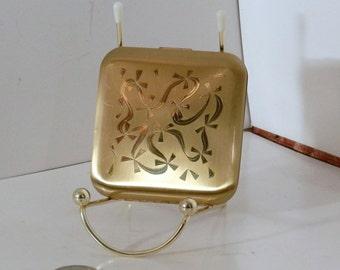 Vintage J. V. Pilcher Compact square metal compact makeup mirror case, circa 1950s.