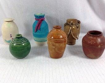6 American Art Pottery miniature Southwest vases & lidded Jar - signed McKeon, Boston