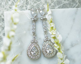 Bridal Earrings, Wedding Earrings, Bridal Earrings Cubic Zirconia, Tear Drop, E216W