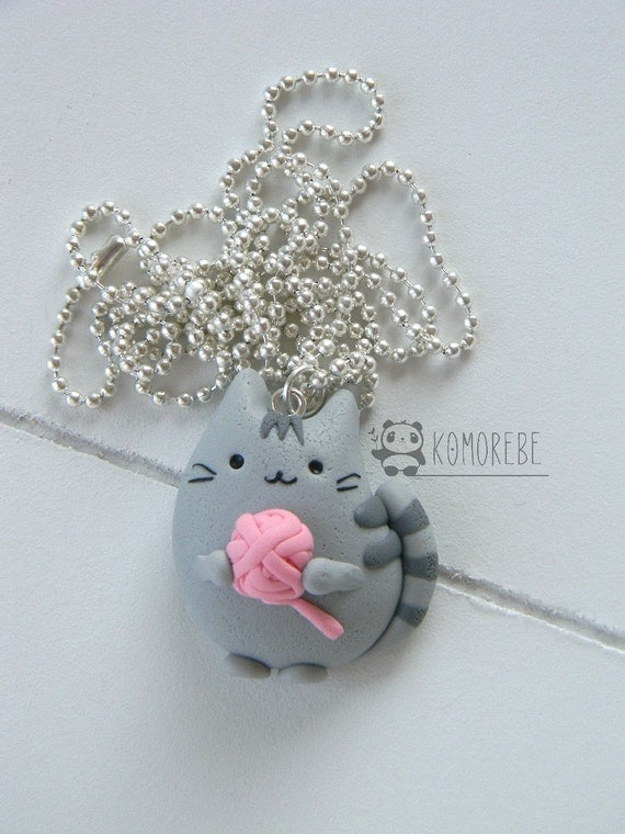 Pusheen Cat & Ball Necklace