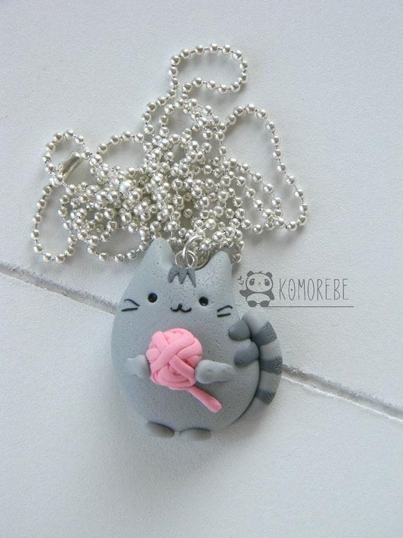 Pusheen Cat & Ball Necklace