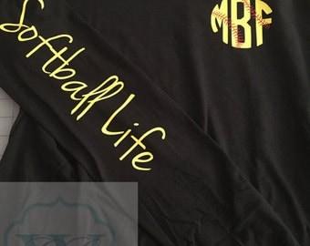 Softball Life Monogram Long Sleeve Shirt - Softball Life Shirt - Softball Shirt