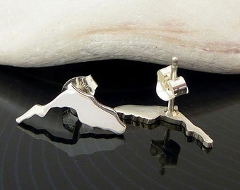 Sterling Silver Florida Studs / Small FloridaEarrings / Love Florida / State Studs / Florida Stud Earrings