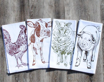 Farm Animals Cotton Napkins Set of 4 - Farmhouse Napkins - Country Table Linens - Barnyard Theme - Washable Reusable Cotton Napkins