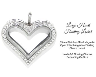 35mm Stainless Steel Cubic Zirconia Magnetic Open Heart Floating Charm Glass Memory Locket ~  Holds 6-8 Floating Charms