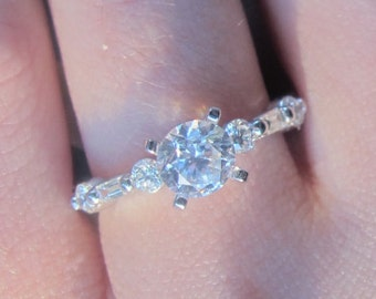 Round and Baguette Diamond Engagement Ring, 2/3 carat Diamond Engagement Ring Setting, Diamond Semi-Mount