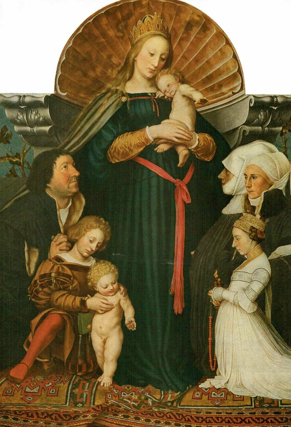 Vintage 1926 print of painting by Hans Holbein the Younger of the Madonna of Burgomaster Meyer, high quality print, Christian print