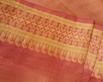 Indian Red Pattern Border Silk Sari Fabric -Burnt Red Ombre Fine Silk Organza with Border Designs- DIY Fashion or Home Decor 3 Yds / 2.7 m