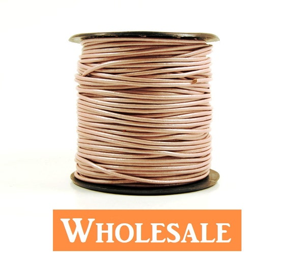 2mm leather cord WHOLESALE in metallic pink color, fine genuine leather cord - 10 yards/order