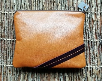 "Leather Clutch  / Leather Pouch / Leather Purse / Leather Cosmetic Case in ""Eggplant and Caramel"""