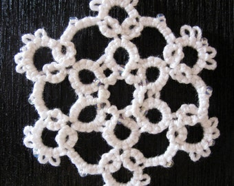 Handmade Lace Ornament - Rounded Snowflake