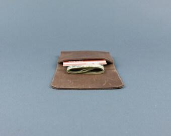 Brown leather slim wallet, Handmade slim wallet, slim leather wallet, Brown leather cardholder. Slim leather wallet